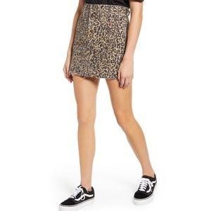 NWT Madewell Rigid Denim A Line Mini Skirt Leopard